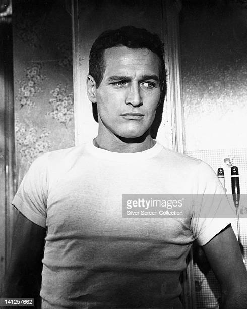 Paul Newman US actor wearing a white tshirt in a publicity still issued for the film 'The Hustler' USA 1961 The pool drama directed by Robert Rossen...