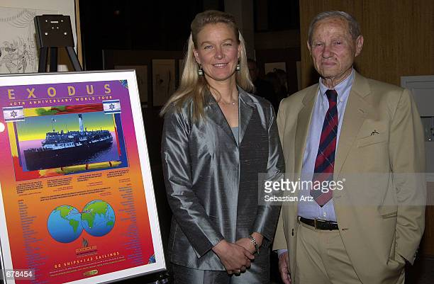 Paul Newman's daughter Nell Newman and Yossi Harrel, commander of the actual Exodus vessel attend the premiere of the 40th anniversary release of the...