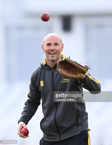 Paul Nixon Head Coach of Leicestershire takes fielding practice ahead of a Friendly Match between Nottinghamshire and Leicestershire at Trent Bridge...