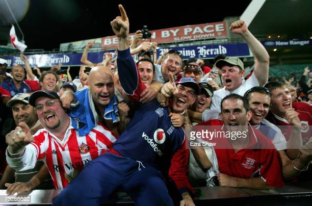 Paul Nixon of England celebrates with fans after England won the the Commonwealth Bank One Day International Series second final match and the series...