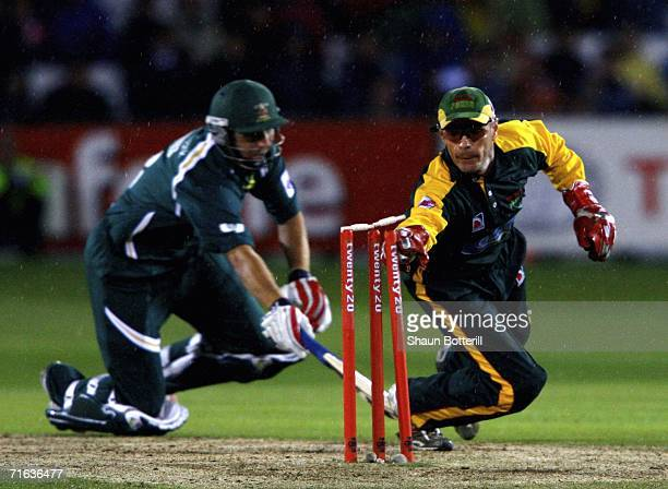 Paul Nixon of Leicestershire runs out Paul Franks of Nottinghamshire during the Twenty20 Cup Final match between Nottinghamshire and Leicestershire...