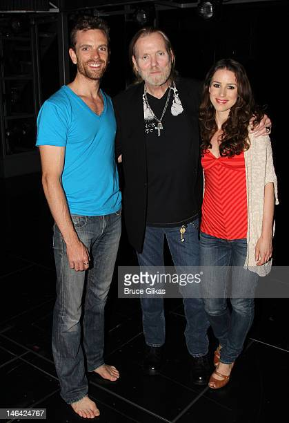 Paul Nolan Gregg Allman and Chilina Kennedy pose backstage at the hit musical Jesus Christ Superstar on Broadway at The Neil Simon Theater on June 15...