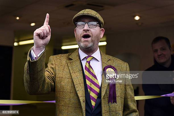Paul Nuttall leader of UKIP launches his campaign to be the Member of Parliament for the constituency of Stoke Central outside the UKIP shop on...