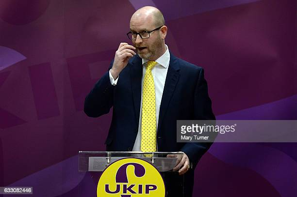 Paul Nuttall leader of UKIP speaks to the media about the party's health policy as he campaigns to become the Member of Parliament for the Stoke...