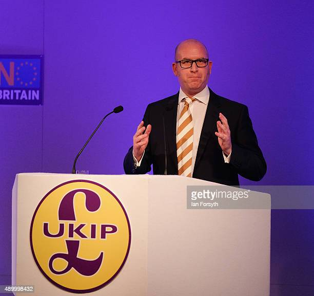 Paul Nuttall MEP the Deputy Leader of the UK Independence Party addresses party members and supporters during the UK Independence Party annual...