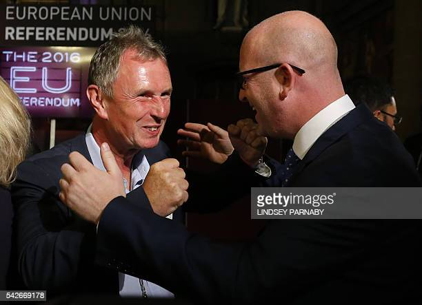 Paul Nuttall United Kingdom Independence Party MEP for the north west of England and Nigel Evans Conservative MP for Ribble Valley celebrate the...