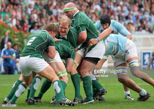 Paul O CONNELL / Jerry FLANNERY / John HAYES - - Argentine / Irlande - Coupe du monde de Rugby 2007, Photo : Dave Winter / Icon Sport