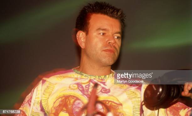 DJ Paul Oakenfold performs on stage headlining Glastonbury Festival Other Stage 26th June 1999