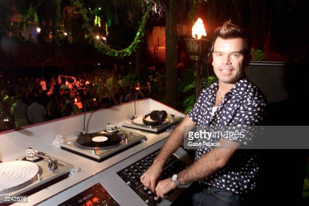 DJ Paul Oakenfold playing the music for the afterparty at Roseland for the premiere of the Planet of the Apes in New York City on July 24 2001