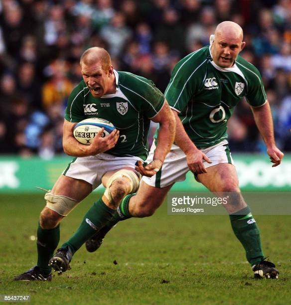 Paul O'Connell and John Hayes of Ireland attack Scotland during the RBS Six Nations Championship match between Scotland and Ireland at Murrayfield...