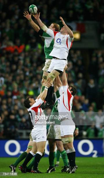 Paul O'Connell of Ireland battles for the ball with Martin Corry of England during the RBS Six Nations Championship match between Ireland and England...