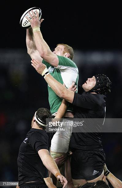 Paul O'Connell of Ireland takes the ball in the lineout during the international test match between the New Zealand All Blacks and Ireland at Eden...