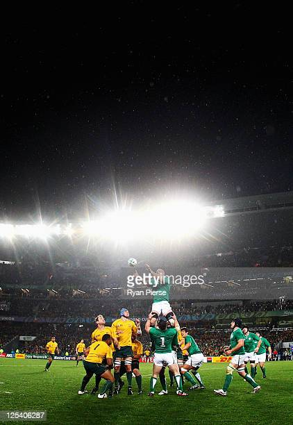 Paul O'Connell of Ireland wins the line out ball during the IRB 2011 Rugby World Cup Pool C match between Australia and Ireland at Eden Park on...