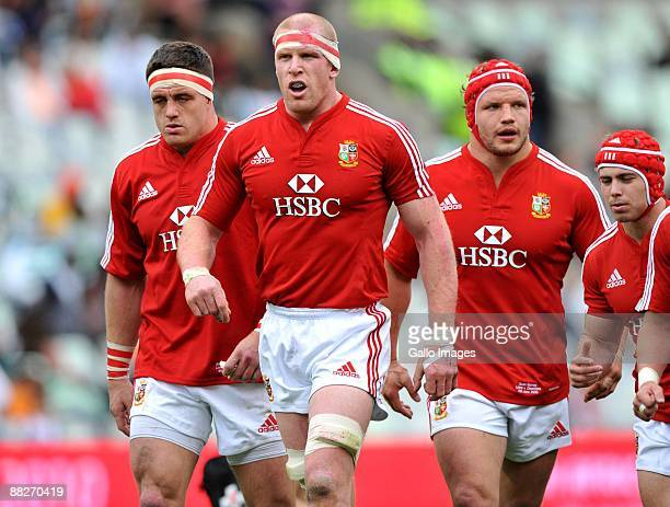 Paul O'Connell of the British & Irish Lions with his team mates during the British and Irish Lions Tour match between Cheetahs and British and Irish...