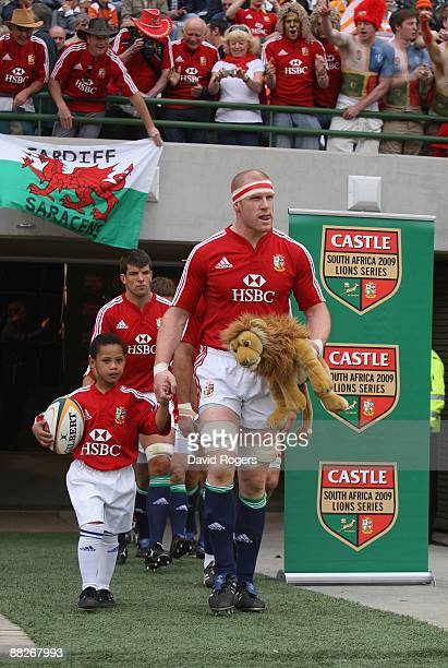 Paul O'Connell the Lions captain leads out the team before the match between the Cheetahs and the British and Irish Lions on their 2009 tour of South...