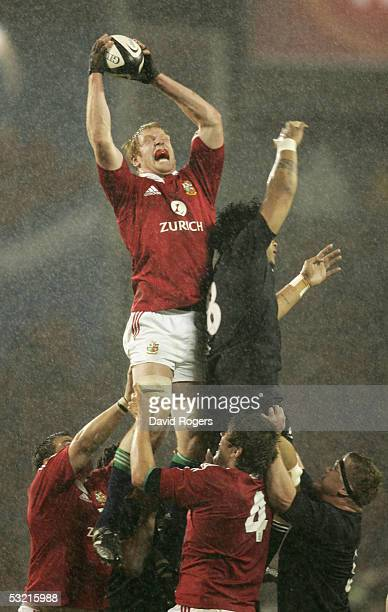 Paul O'Connell the Lions lock catches the ball in the lineout during the third test match between The New Zealand All Blacks and the British and...