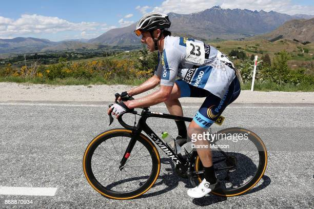 Paul Odlin of Christchurch Powernet makes the climb to Coronet Peak during stage 3 from Mossburn to Coronet Peak during the 2017 Tour of Southland on...