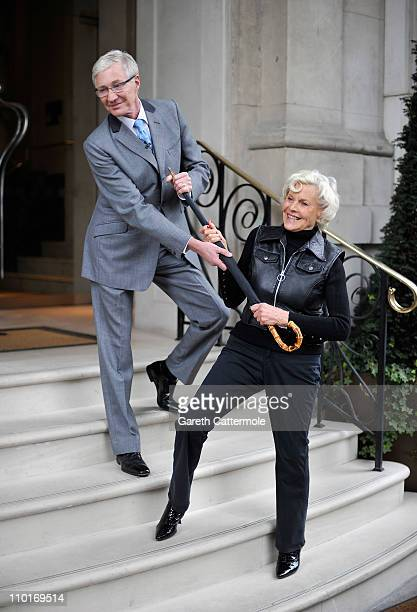 Paul O'Grady and Honor Blackman attend the launch photocall for the 50th Anniversary Celebrations of The Avengers at The Langham Hotel on March 16...