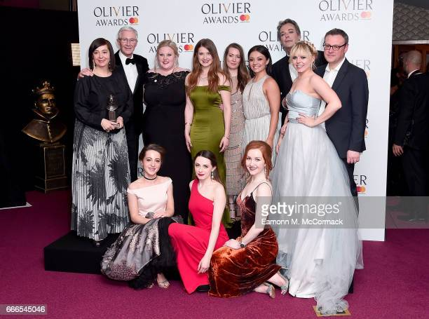 Paul O'Grady and Julian Clary pose with cast and crew of 'Our Ladies Of Perpetual Succour' in the winners room in the winners room at The Olivier...