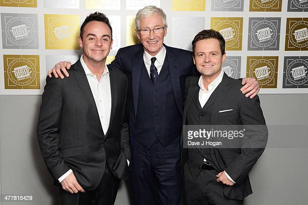 Paul O'Grady Declan Donnolly and Anthony McPartlin attends the TRIC awards 2014 at the Grosvenor House Hotel on March 11 2014 in London England
