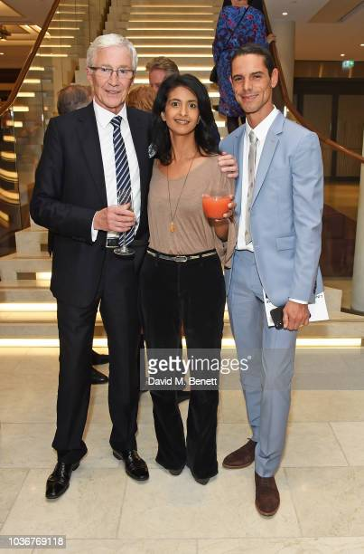 Paul O'Grady, Konnie Huq and Andre Portasio attend the re-opening of the Royal Opera House on September 20, 2018 in London, England.