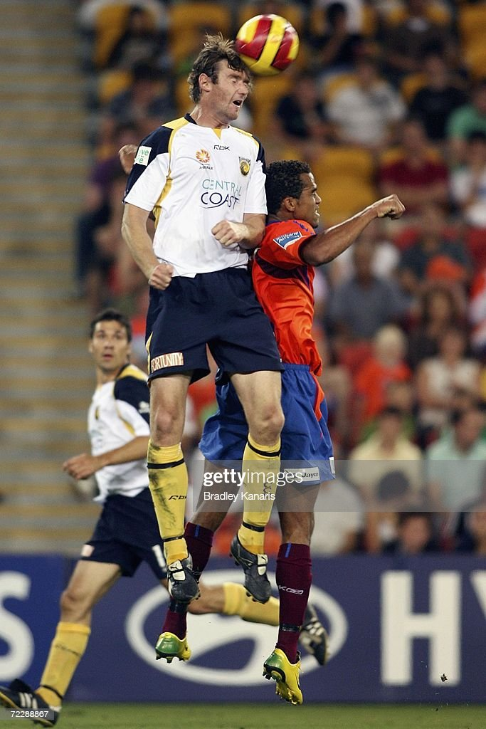 Paul O'Grady of the Mariners jumps high to head the ball during the round ten Hyundai A-League match between the Queensland Roar and the Central Coast Mariners at Suncorp Stadium on October 28, 2006 in Brisbane, Australia.