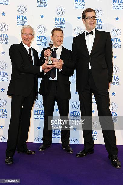 Paul O'Grady winner of Factual Entertainment for Paul O'Grady For the Love of Dogs poses with presenters Alexander Armstrong and Richard Osman in the...