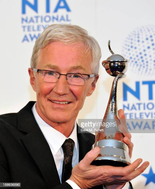 Paul O'Grady winner of Factual Entertainment for 'Paul O'Grady For the Love of Dogs' poses in the Winners room at the National Television Awards at...