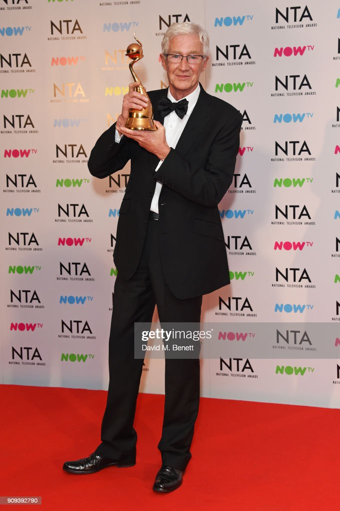 Paul O'Grady, winner of the Special Recognition award for 'The Love Of Dogs', poses in the press room at the National Television Awards 2018 at The O2 Arena on January 23, 2018 in London, England.