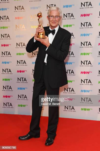 Paul O'Grady winner of the Special Recognition award for 'The Love Of Dogs' poses in the press room at the National Television Awards 2018 at The O2...