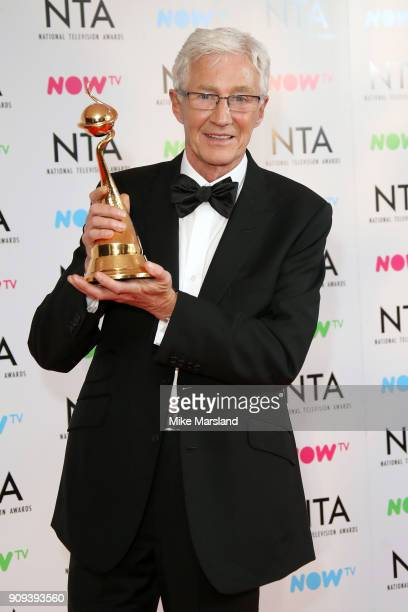 Paul O'Grady winner of the Special Recognition Award poses in the press room at the National Television Awards 2018 at The O2 Arena on January 23...