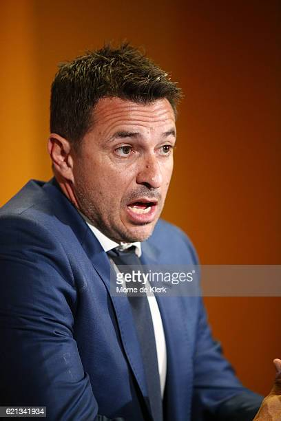 Paul Okon coach of the Central Coast Mariners speaks to media during a press conference after the round five ALeague match between Adelaide United...