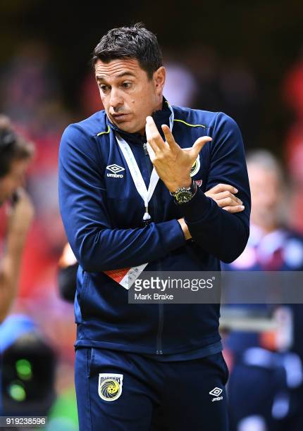 Paul Okon coach of the Mariners during the round 20 ALeague match between Adelaide United and the Central Coast Mariners at Coopers Stadium on...