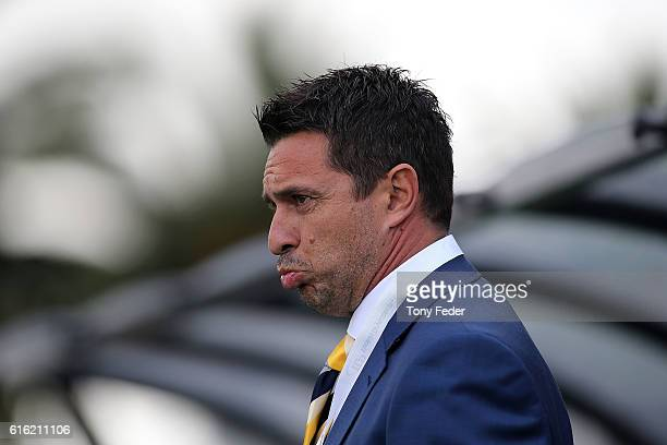 Paul Okon coach of the Mariners during the round three ALeague match between the Central Coast Mariners and the Brisbane Roar at Central Coast...