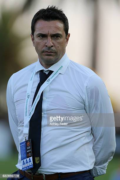 Paul Okon coach of the Mariners looks on during the round 17 ALeague match between the Central Coast Mariners and the Perth Glory at Central Coast...