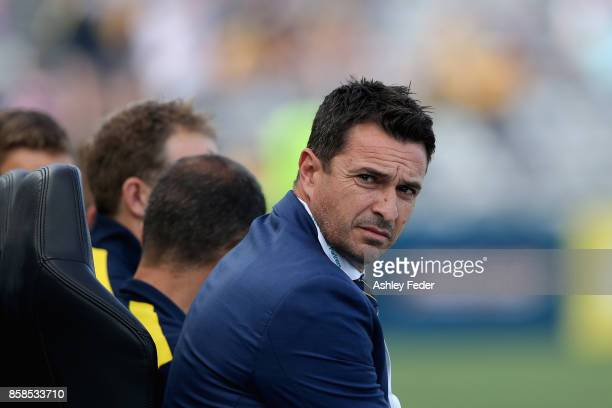 Paul Okon coach of the Mariners looks on during the round one ALeague match between the Central Coast Mariners and the Newcastle Jets at Central...