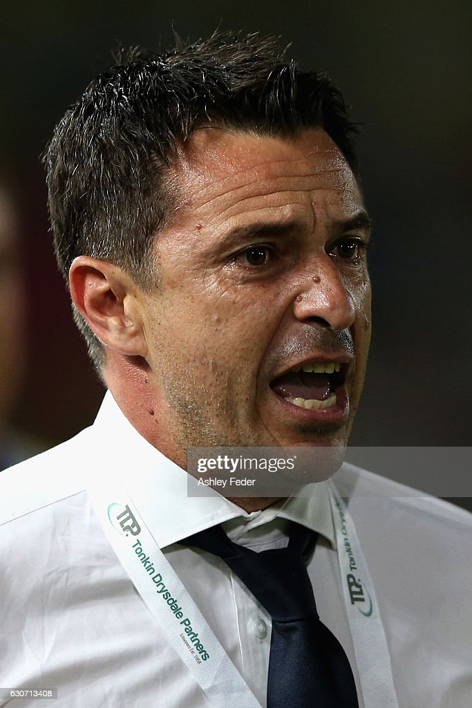 Paul Okon coach of the Mariners reacts during the round 13 A-League match between the Central Coast Mariners and Melbourne City at Central Coast Stadium on December 31, 2016 in Gosford, Australia.