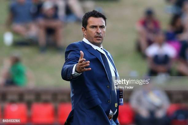 Paul Okon coach of the Mariners reacts during the round 21 ALeague match between the Newcastle Jets and the Central Coast Mariners at McDonald Jones...