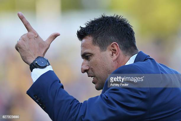 Paul Okon coach of the Mariners reacts during the round nine ALeague match between Central Coast Mariners and the Western Sydney Wanderers at Central...