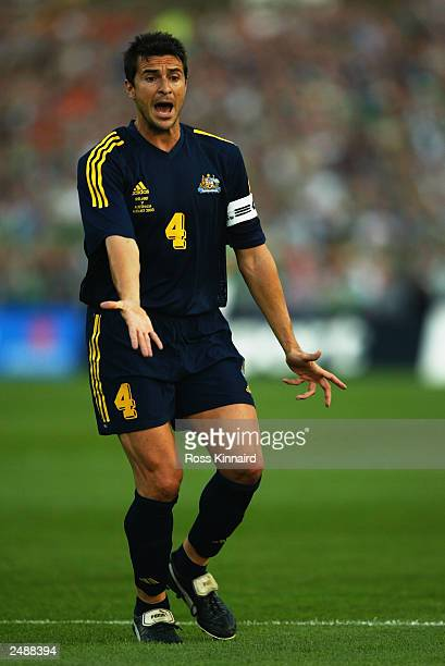 Paul Okon of Australia calls for the ball during the friendly international match between Ireland and Australia on August 19 2003 at Lansdowne Road...