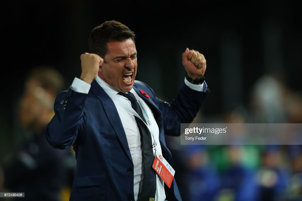 Paul Okon of the Mariners celebrates the win over Sydney during the round six A-League match between the Central Coast Mariners and Sydney FC at Central Coast Stadium on November 10, 2017 in Gosford, Australia.