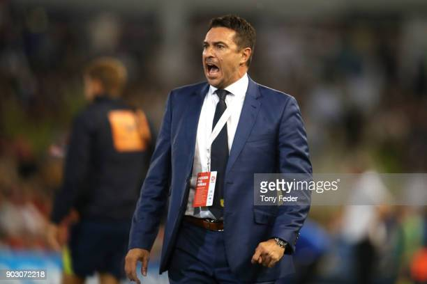 Paul Okon of the Mariners during the round 15 ALeague match between the Newcastle Jets and the Central Coast Mariners at McDonald Jones Stadium on...