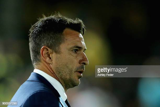 Paul Okon of the Mariners reacts after the draw during the round 13 ALeague match between the Central Coast Mariners and the Wellington Phoenix at...