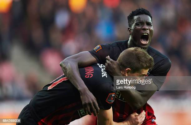 Paul Onuachu and Jonas Borring of FC Midtjylland celebrate after scoring their third goal during the Danish Alka Superliga match between FC...