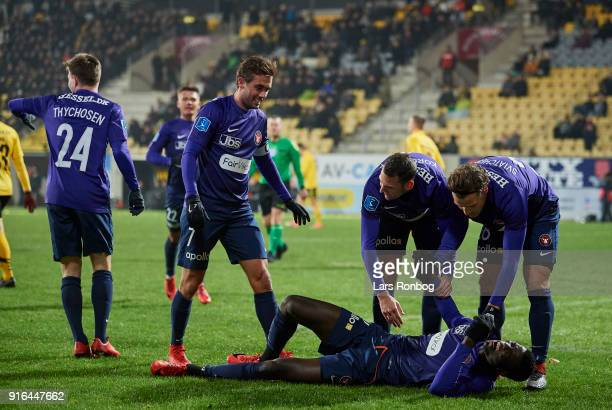 Paul Onuachu Mads Dohr Thychosen Jakob Poulsen Zsolt Korcsmar and Erik Sviatchenko of FC Midtjylland celebrate after scoring their first goal during...