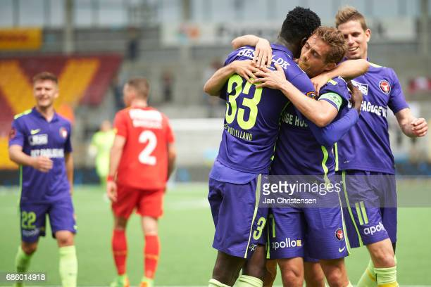 Paul Onuachu of FC Midtjylland and teammates celebrate after his 02 goal during Action from the Danish Alka Superliga match between FC Nordsjalland...