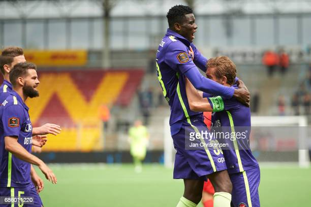 Paul Onuachu of FC Midtjylland celebrate after his 02 goal during Action from the Danish Alka Superliga match between FC Nordsjalland and FC...