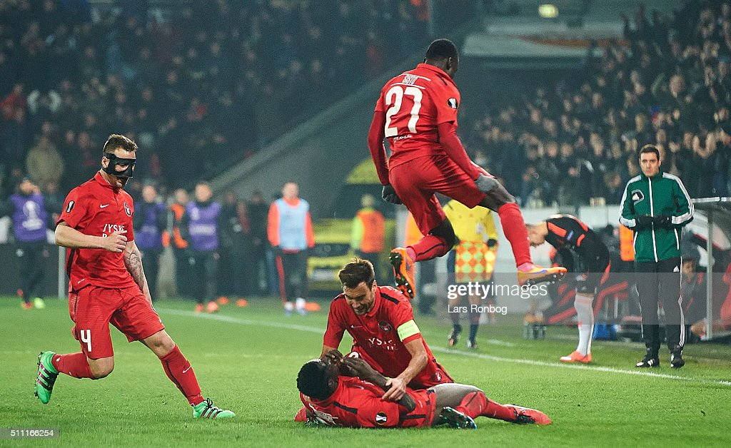 FC Midtjylland vs Manchester United - UEFA Europa League Round of 32: First Leg : News Photo
