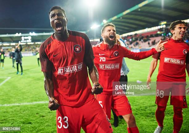 Paul Onuachu of FC Midtjylland celebrates after the UEFA Europa League Qualification 3rd round 2th leg match between FC Midtjylland and Arka Gdynia...