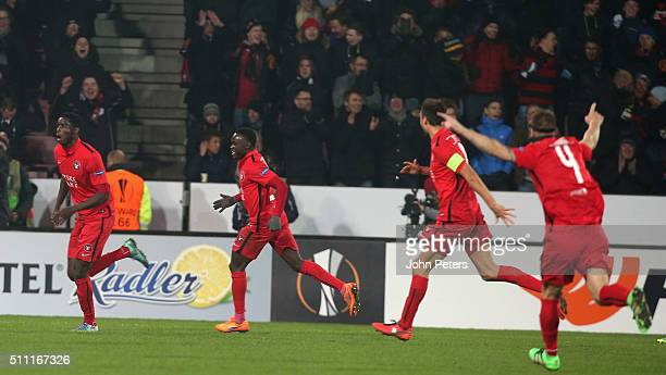 Paul Onuachu of FC Midtjylland celebrates scoring their second goal during the UEFA Europe League match between FC Midtjylland and Manchester United...